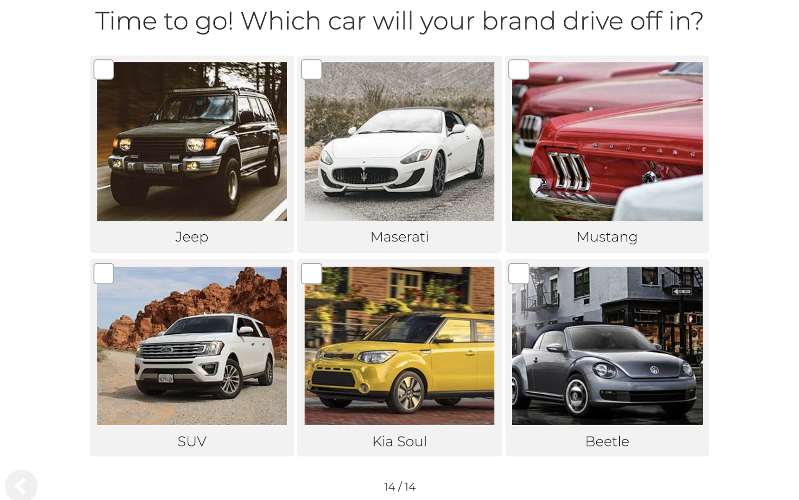 quiz question about car brand preference