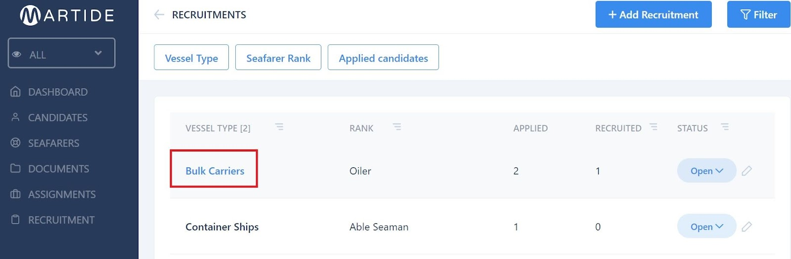 screenshot showing where to click on a Recruitment.