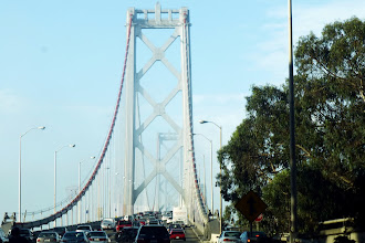 Photo: The suspension bridge on the western span. I'm still a little apprehensive about the fog...