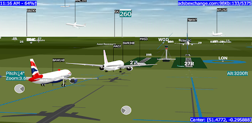 Track planes in real time on a realistic looking radar screen as well as in 3D