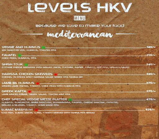 Menu 16 - Levels HKV, Hauz Khas Village, New Delhi