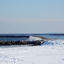 Waves Hit the Rocks after Winter Storm by Kristine Nicholas - Novices Only Landscapes ( icy, splash, waterscape, rocky, rock, ocean, beach, landscape, cold, ice, snow, splashes, rocks, rock wall, waves, snowy, sea, seascape, winter, splashing, blue, seawall, reservation, wave, sea wall, wall, waterway,  )