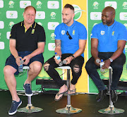 Cricket South Africa (CSA) head of marketing Clive Eksteen (L), Proteas captain Faf du Plessis (C) and CSA chief executive Thabang Moroe (R) during the season launch of the 2018/2019 season at SuperSport Park on September 04, 2018 in Pretoria.