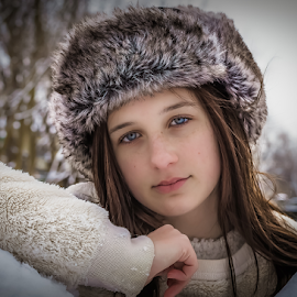 Laney by Judy Deaver - Babies & Children Child Portraits ( winter photo, winter white, hat )