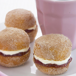 Mini Cinnamon Doughnuts with Jam and Cream