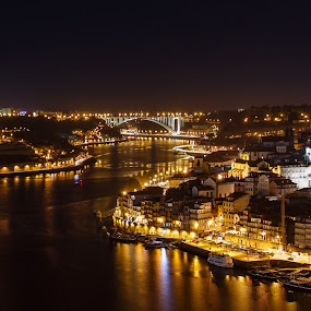 Porto by Diogo Ferreira - City,  Street & Park  Night ( portugal, city at night, douro, river, nightlife, porto )