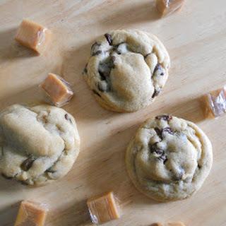 Caramel Stuffed Chocolate Chip Cookies.