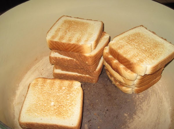 Lightly toast all the bread. Cut into pieces for stuffing. Saute your onions, celery...