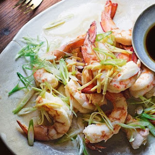 Steamed King Prawns With Ginger And Spring Onions.