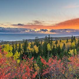 Grand Marais Fall Sunset by David Johnson - Landscapes Sunsets & Sunrises ( landscape photography, fall colors, sunset, grand marais mn, lake superior )