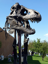 """Photo: """"Big Mike"""" greets us. It's a bronze cast of MOR 555 or """"Wankel Rex"""", the largest Tyrannosaurus ever found."""