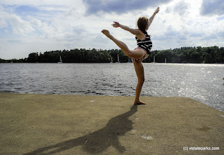 Photo: Striking a (yoga) pose at Kingsland Bay State Park by Carolyn Dean