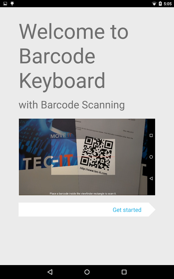 Barcodescanner Keyboard, Demo- screenshot