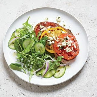 Weight Watchers Tomato And Feta Toasts With Mixed Greens Salad