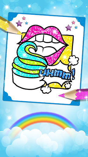 Glitter Lips with Makeup Brush Set coloring Game screenshot 5