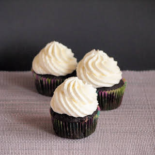 Dark Chocolate Cupcakes with Almond Mascarpone Frosting.