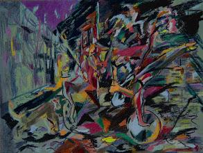 Photo: Title: Circus In The Town / Цирк В Городке  Artist: Tadeush Zhakhovskyy / Тадеуш Жаховский Medium: Painting. mixed techique on cardboard, смешанная техника, дизайнерский картон. 46 cm x 61 cm x / 18 in x 24 in.
