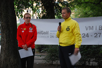 Photo: Karin Heschl, Austria and Carl-Johan Ryner, Sweden took the Players oath on behalf of all players in the tournament. Photo:Patric Fransson