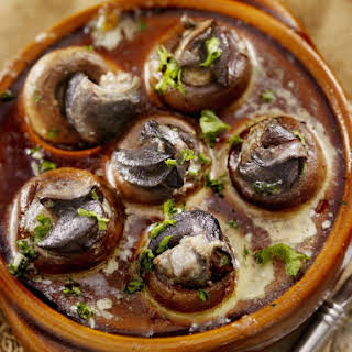 French Escargot-Stuffed Mushrooms.