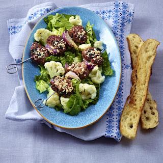 Sesame Lamb Kebabs with Cauliflower.