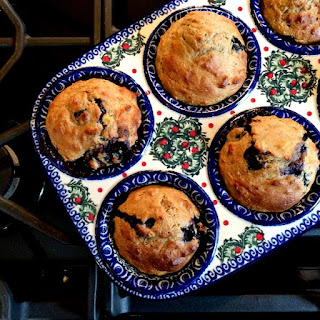 Blueberry Banana Buttermilk Soaked Oat Muffins.