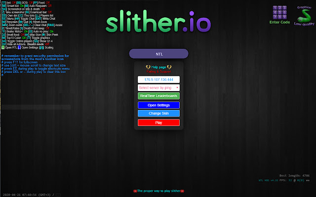 NTL MOD for Slither.io