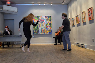Photo: We had the place rather to ourselves. Kaspara Albertsen, who works at Urban Gallery, moi, John Charles Daly in the corner on guitar and John Oughton kicking up some steam. Photo by Jennifer Hosein.
