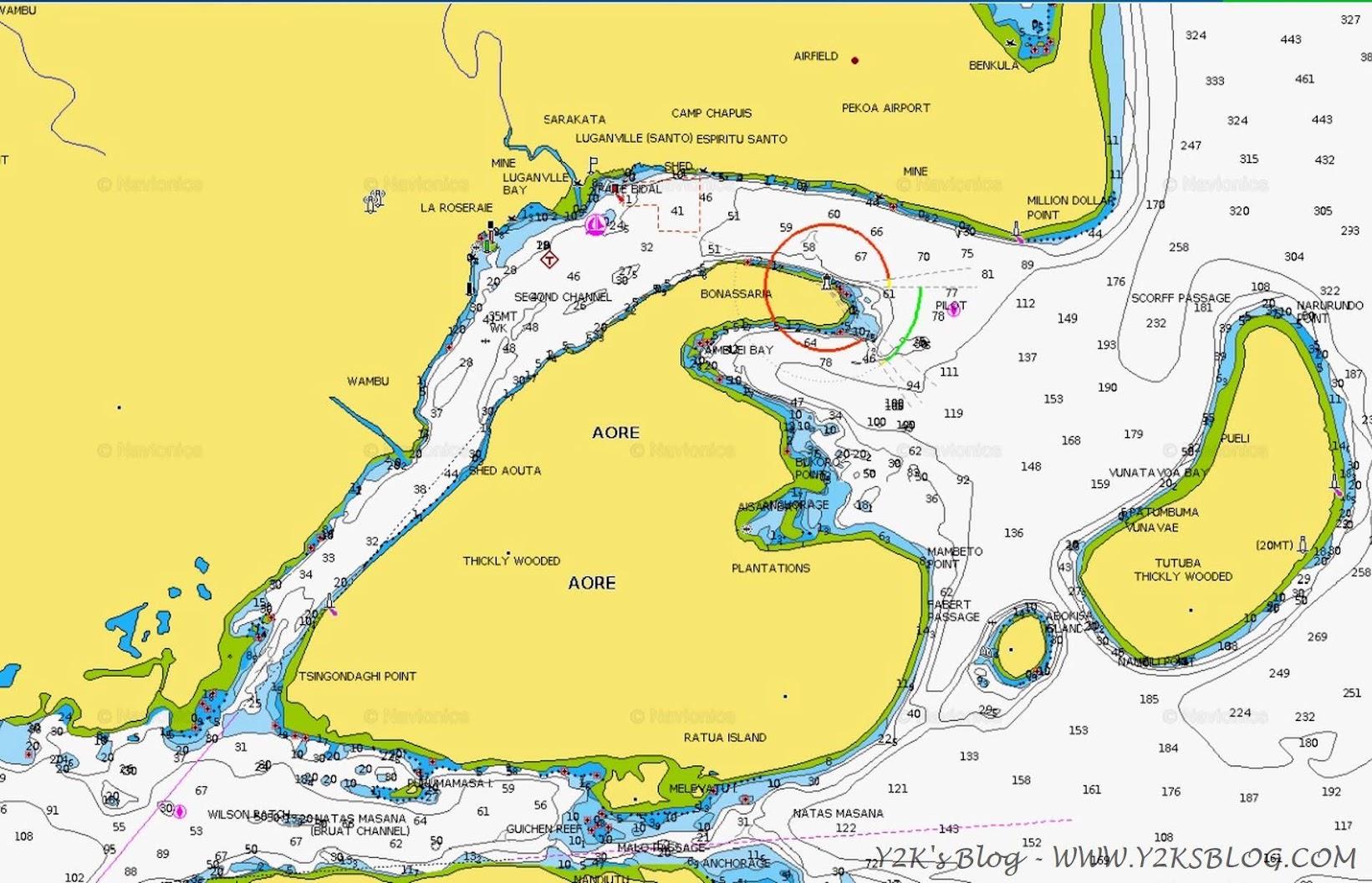 La baia di Luganville e l'Isola di Aore - Santo
