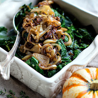 Apple Cider Braised Collard Greens with Bacon Shallots