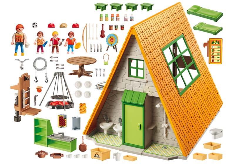 Contenido real de Playmobil® 6887 Cabaña de Campamento