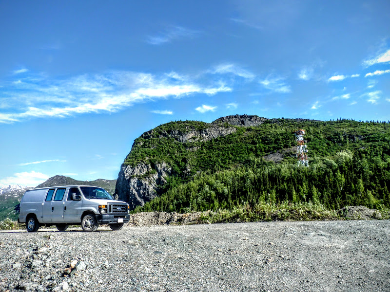 Photo: The Vansion parked on the climbable side of the peak.