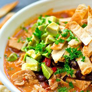 Lighter Crockpot Chicken Enchilada Soup