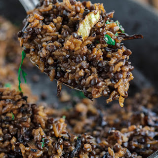 Lentils and Rice with Crispy Onions.