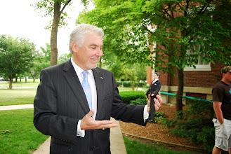 """Photo: Eureka College VP Michael Murtagh with """"Ronald Reagan"""", Reagan Memorial 2013"""