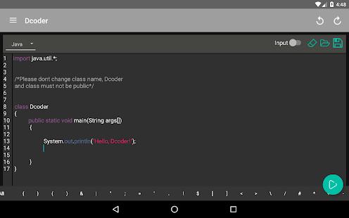 Dcoder, Mobile Compiler IDE screenshot