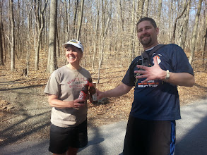 Photo: Beer patty congratulations Ken on his first 50K finish