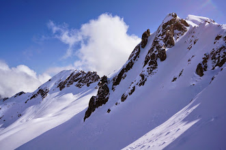 Photo: this couloir was our first lap; second lap on summit proper (i believe) background left
