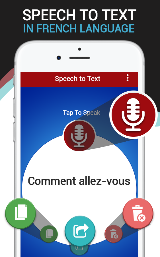 Скриншот French voice to text converter – speech to text