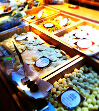 Photo: Mercado de San Miguel.  Gourmet market food market with a great selection of Spanish  foods and drinks for sampling.  Fresh pastas.  Madrid.