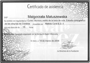 Photo: 2009r. kurs techniki i stylu w tańcu z bata de cola, studio choreograficzne stylu Alegrias de Cordoba prof. Matilde Coral; poziom średniozaawansowany (15 godzin); XIII Festival de Jerez