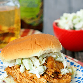 Hard Apple Cider Pulled BBQ Chicken Sandwiches with Almond Apple Slaw.