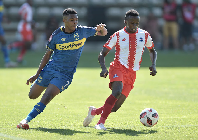 Gift Links of Cape Town City and Siphesihle Ndlovu of Maritzburg United during the Absa Premiership 2018/19 game between Cape Town City and Maritzburg United at Athlone Stadium in Cape Town on 23 February 2019.