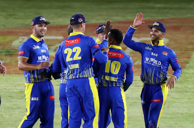 Players of the Cobras celebrate during the 2017 T20 Ram Slam cricket match between Cape Cobras and Warriors at Boland Park, Paarl on 29 November 2017.