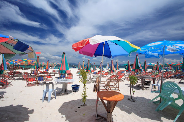 Relax with an umbrella and chair at your beach