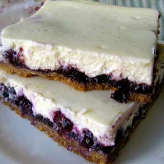 Homemade Blueberry Cheesecake Bars.