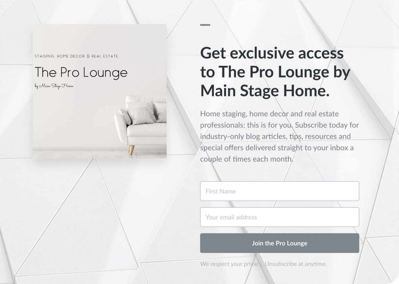 The Pro Lounge landing page