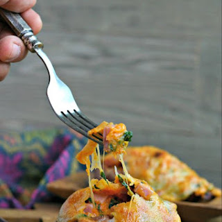 Leftover Ham, Cheese and Spinach Stuffed Sweet Potatoes.