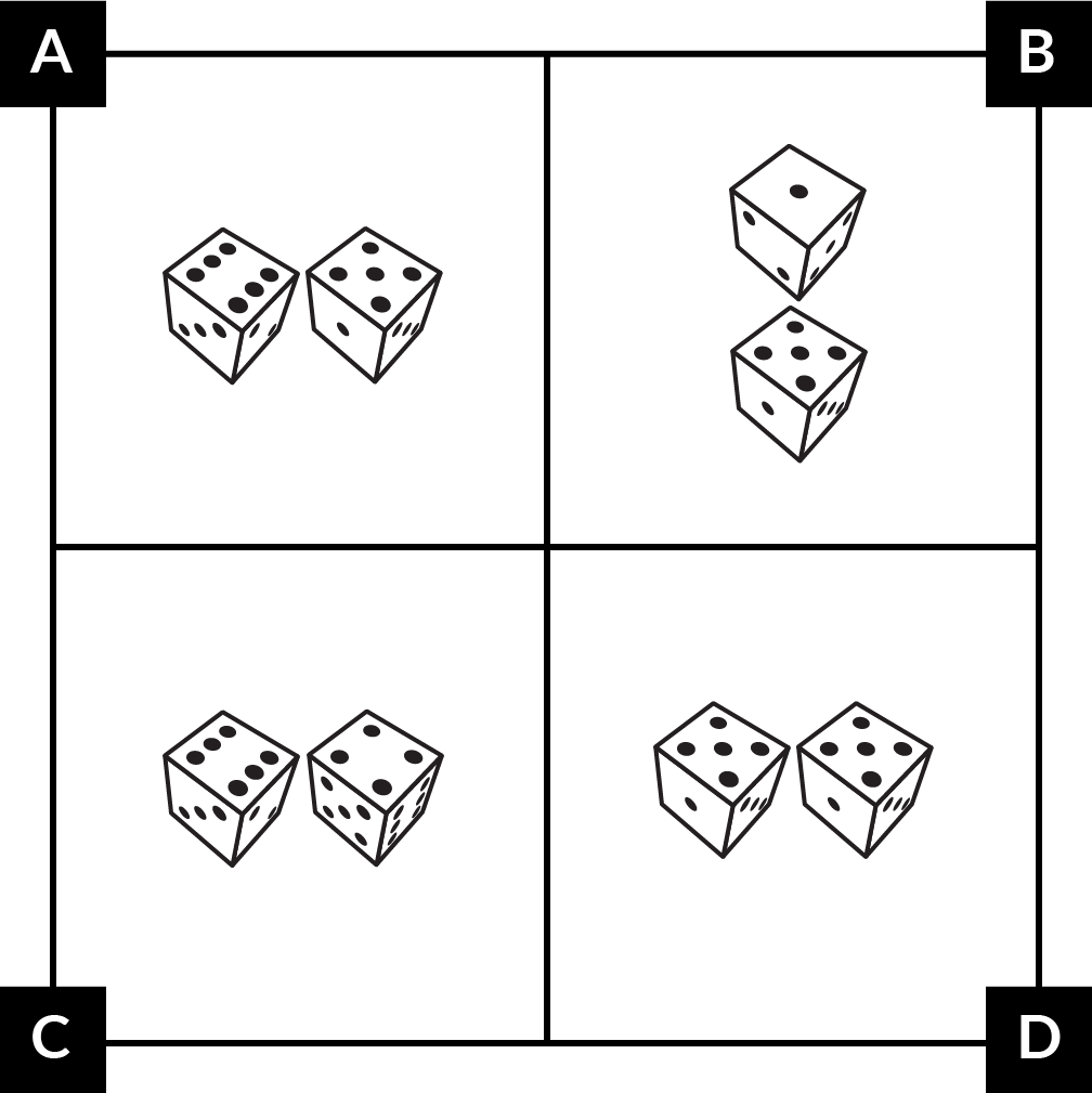 A. has a die showing 6 beside a die showing 5. B. has a die showing 1 above a die showing 5. C. has a die showing 6 beside a die showing 4. D. has 2 dice showing 5s side by side.