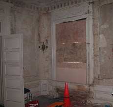 Photo: September 2003 - Month 1: Living Room Front Wall. Water damage!