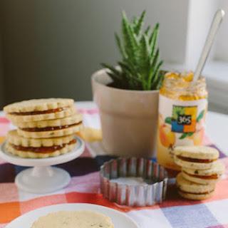 Basil Cornmeal Sandwich Shortbread with Apricot Filling